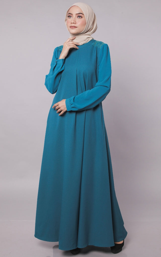 Dark Turquoise Europe Design Abaya