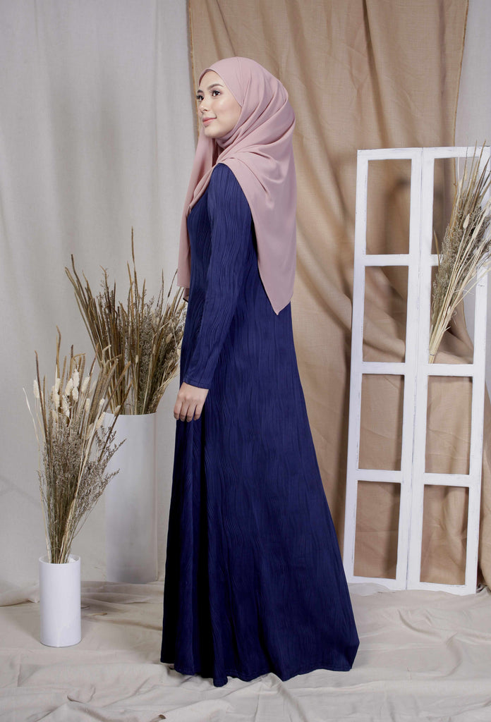 Navy Textured Cotton Abaya