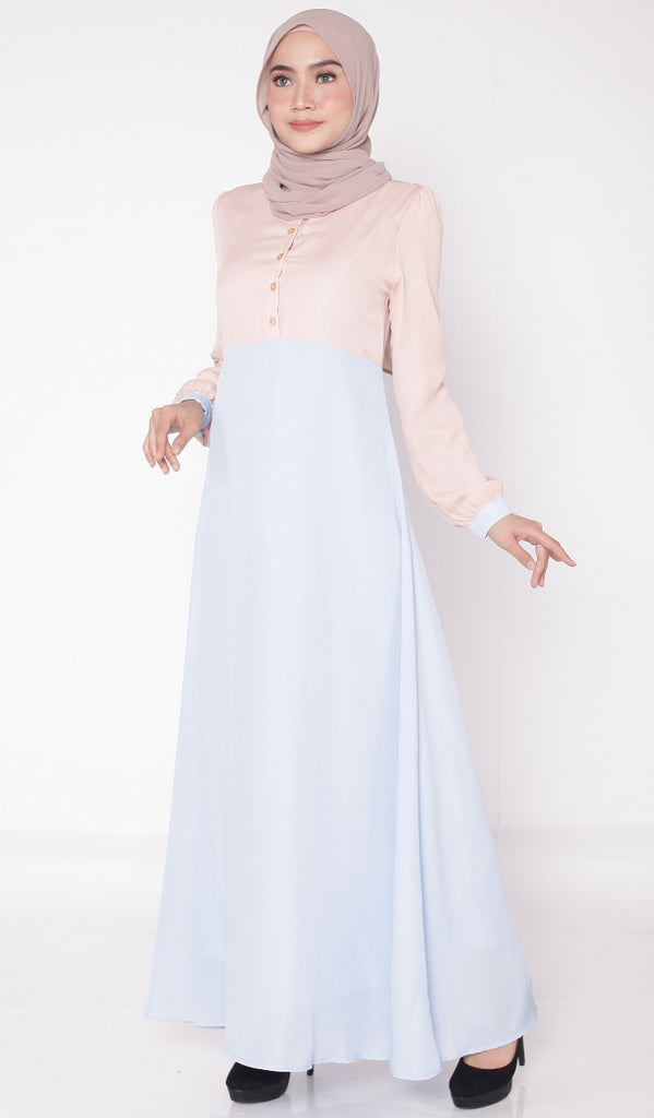 Baby Blue Joint Color Button Abaya