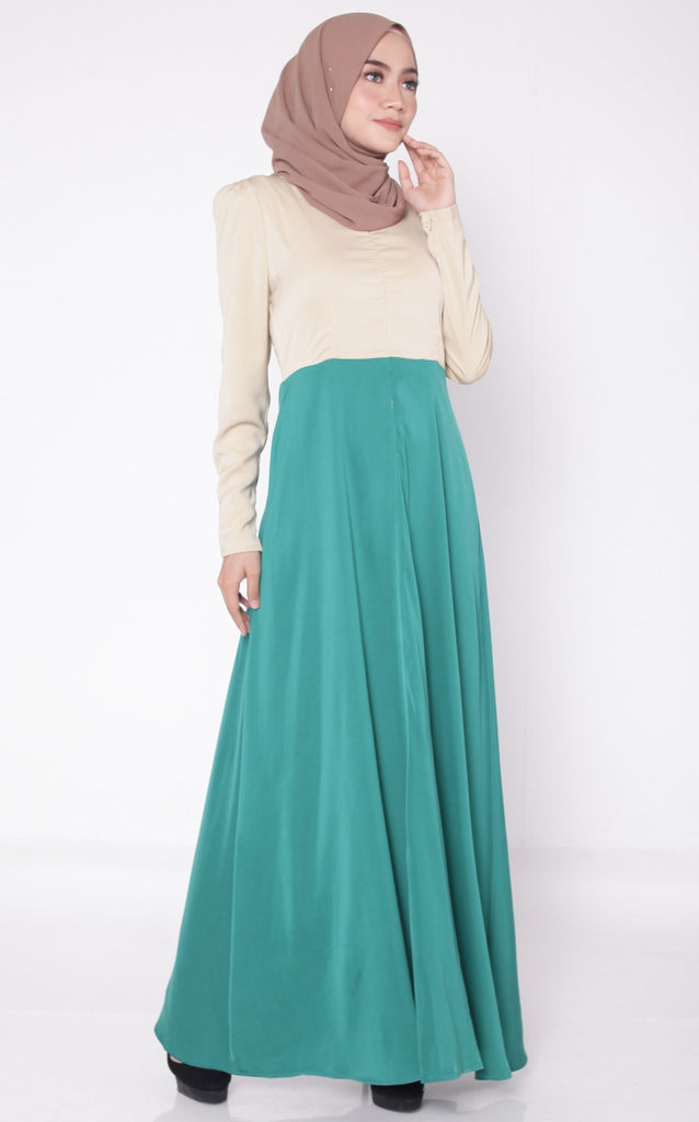 Dark Green Flare Satin Abaya