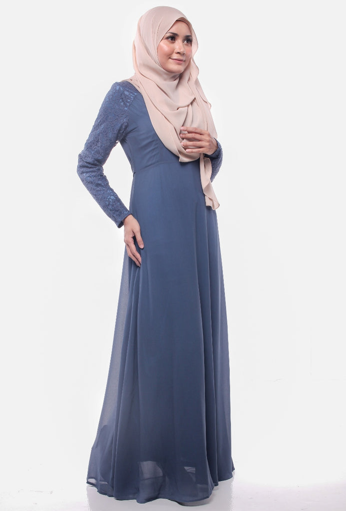 Grayish Navy Joint Lace Abaya