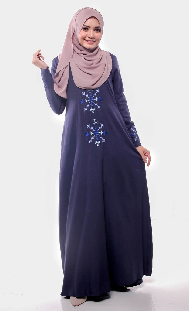 Navy Aztec Embroidered Abaya