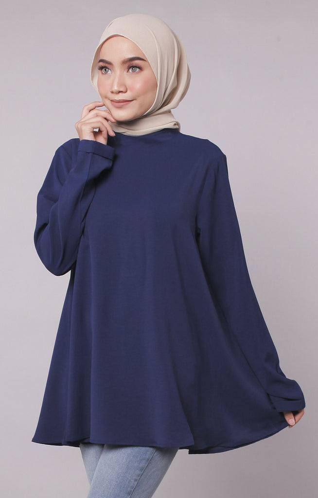 High Neck Flare Navy Blouse