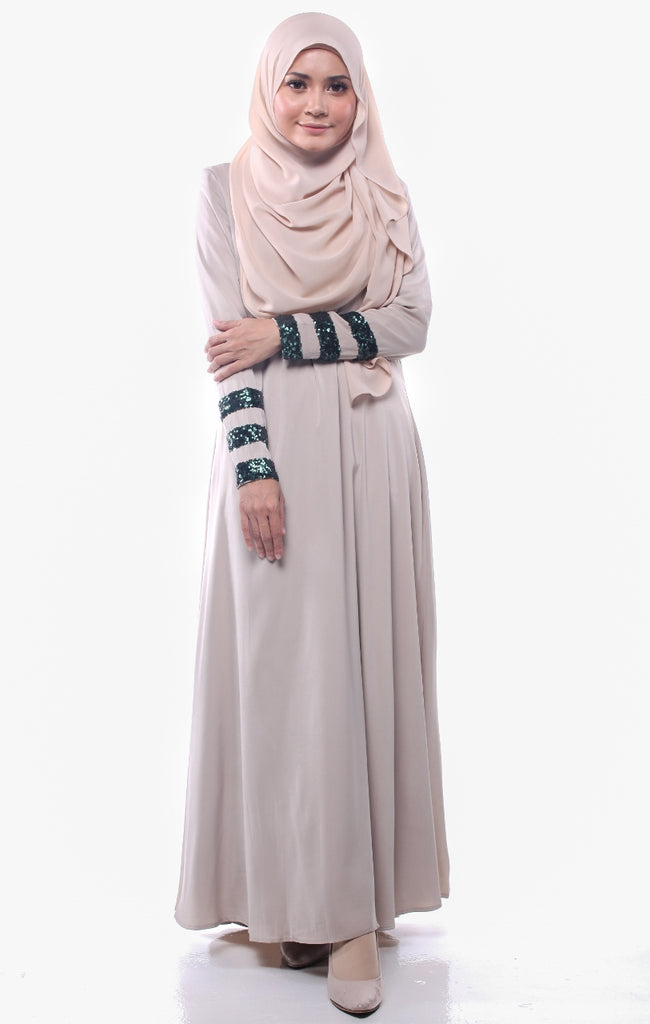 Sequins Stripe Khaki Green Abaya