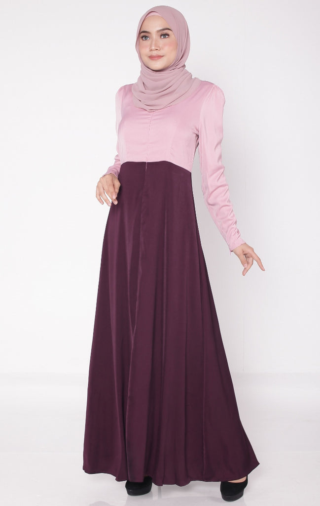 Purple Maroon Flare Satin Abaya