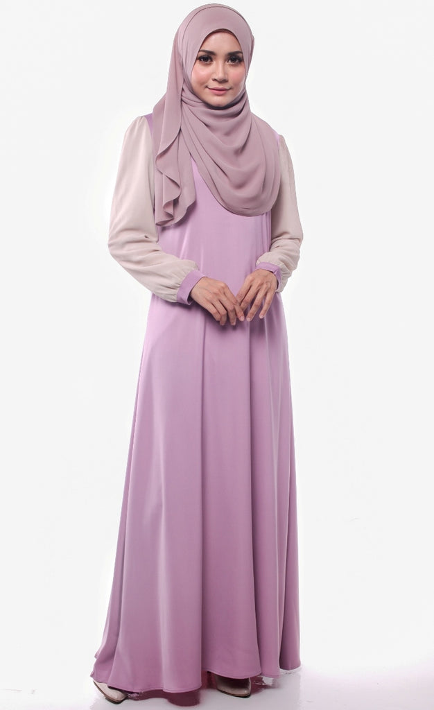 Ash Lilac Joint Color Abaya