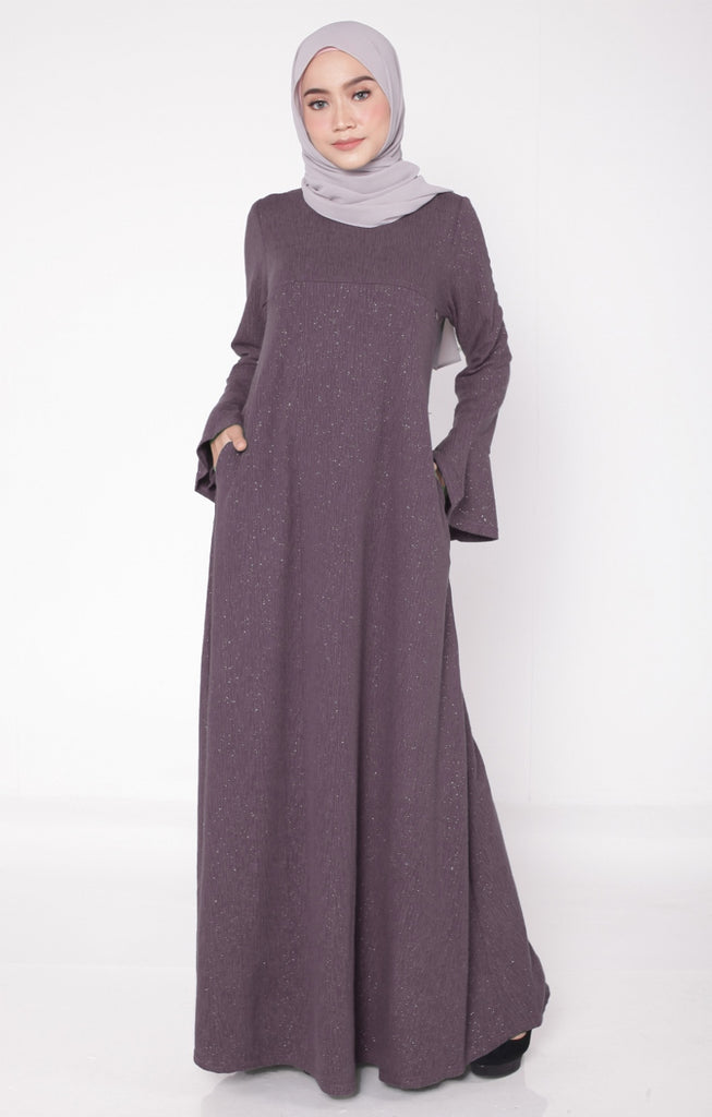 Ironless Glitter Dusty Purple Abaya
