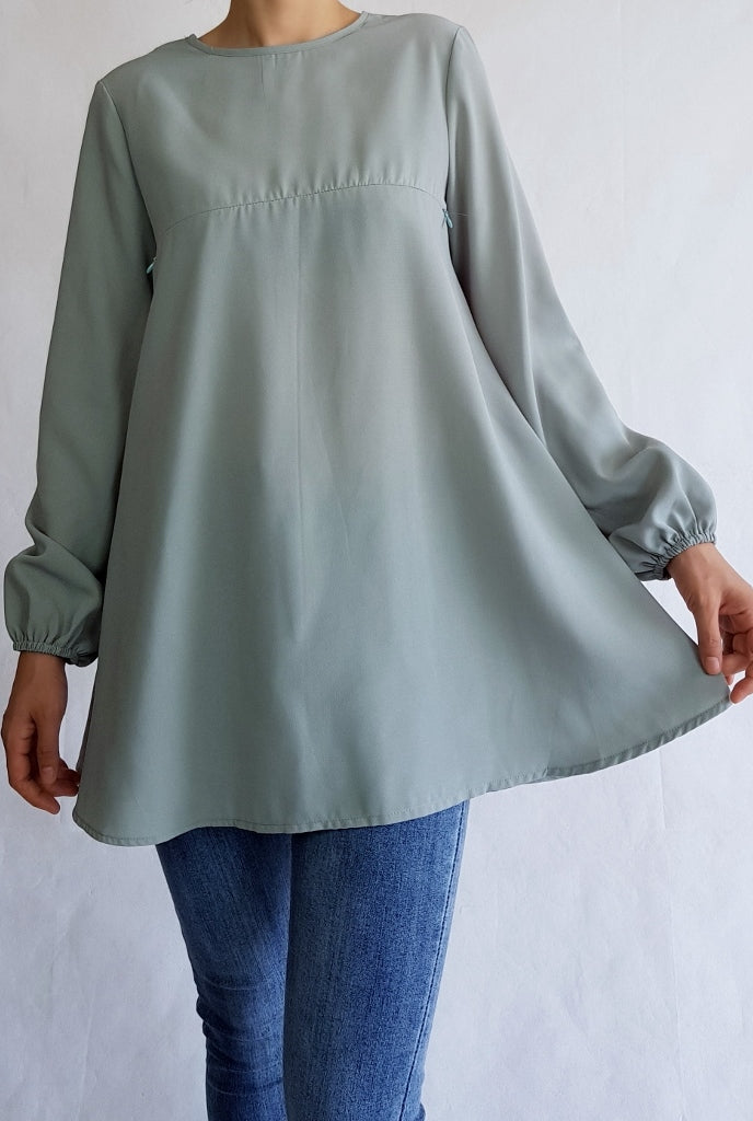 Dusty Mint Nursing Flare Abaya