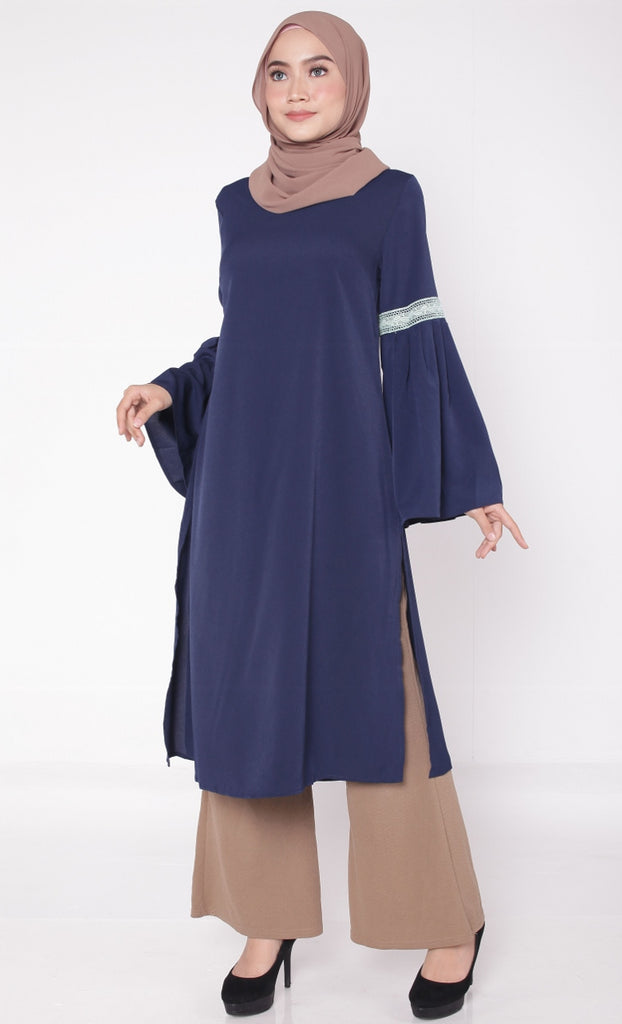 Navy Lace Pleated Trumpet Tunic Abaya