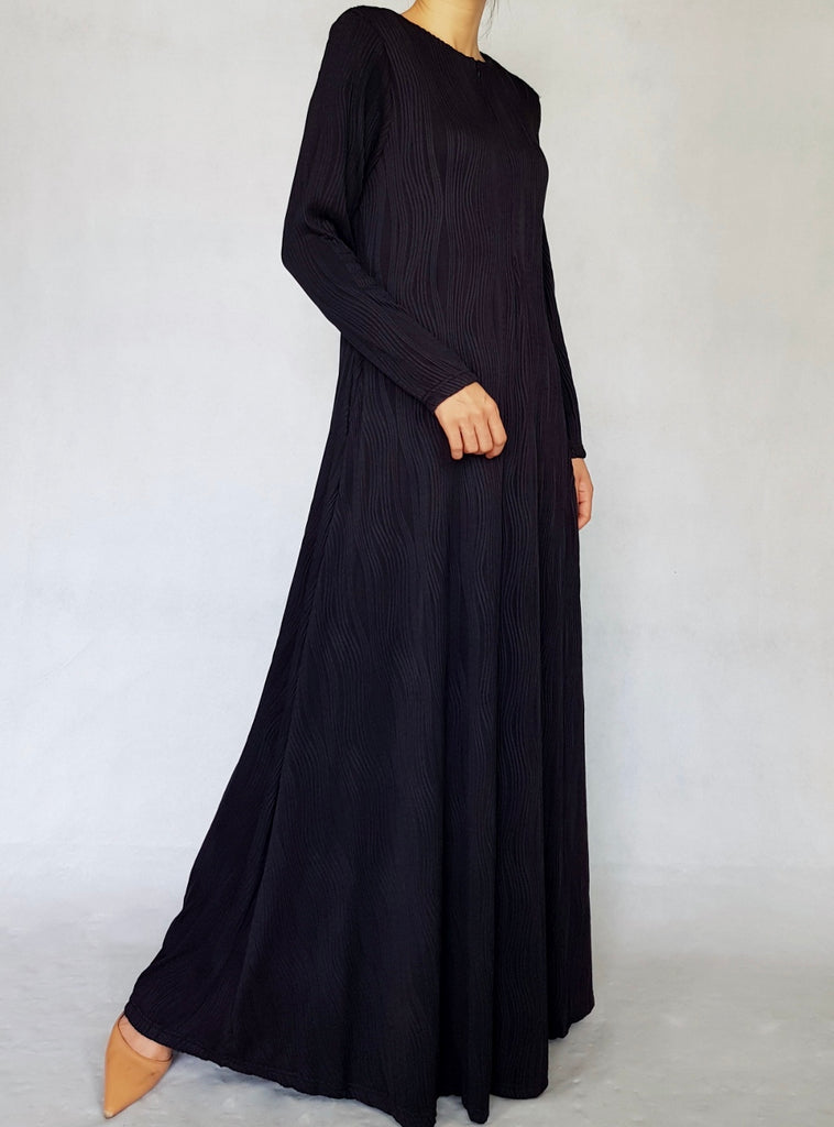 Black Textured Cotton Abaya