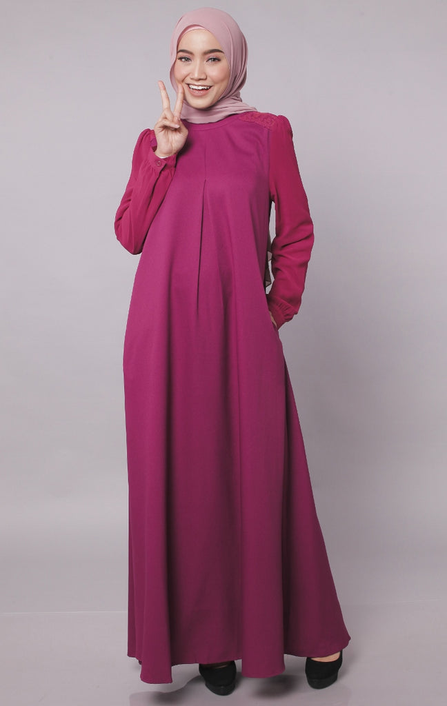 Dark Berry Europe Design Abaya