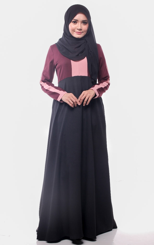 Dark Maroon Trendy Joint Color Abaya