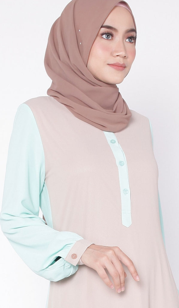 Almond Mint Two Tone Abaya