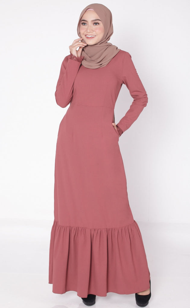 Eyelashes Lace Rose Brick Abaya Dress