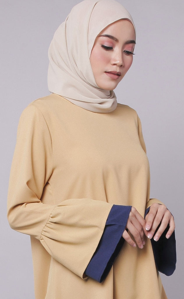 Mustard Joint Colour Trumpet Abaya