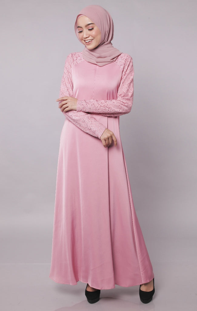 Premium Lace Dusty Pink Abaya