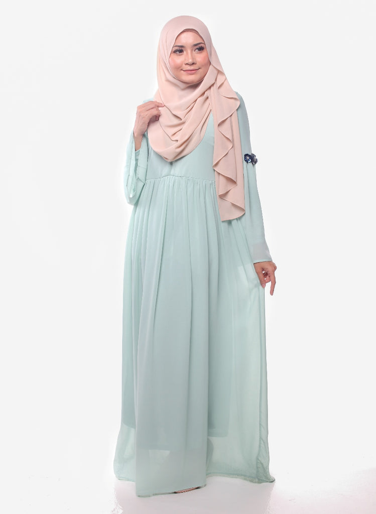 Dusty Mint Sequins Flora Chiffon Abaya