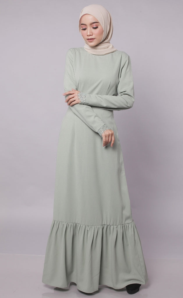 Eyelashes Lace Dusty Mint Abaya Dress
