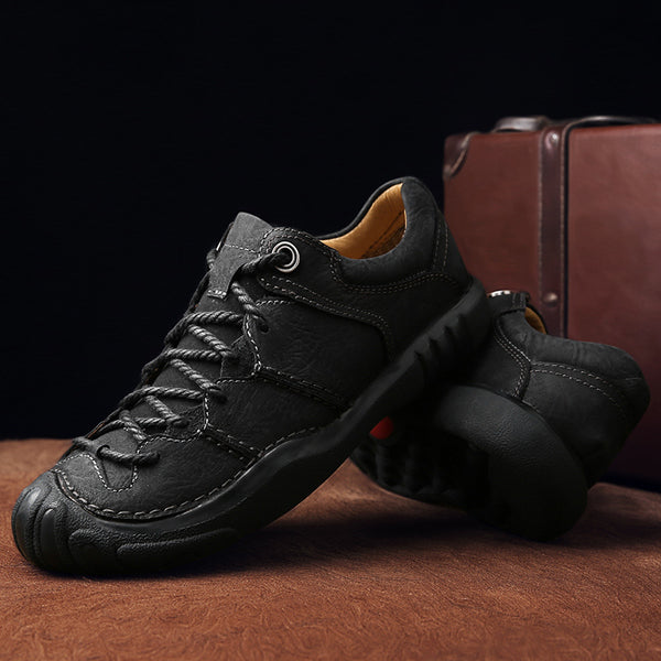 Men Casual Outdoor Lace-up Genuine Leather Oxfords Shoes