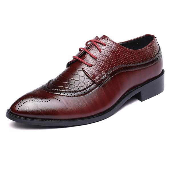 Men Business Shoes Formal Office Wedding Shoes for Men Crocodile Embossed PU Leather Dress Shoes