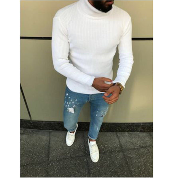 Men Casual Cool Long Sleeve Turtleneck Knitted Sweater