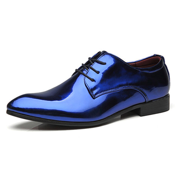 Pointed Toe Men Leather Shoes Fashion Bright Business Shoes Casual Wedding Hard-wearing Shoes