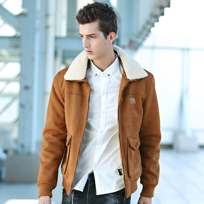 Men's wool thick fur collar coat