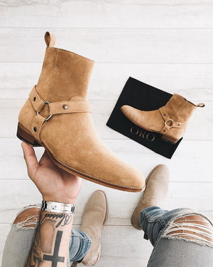 GEDDSS High Quality Men Spring Autumn Suede Ankle Boots