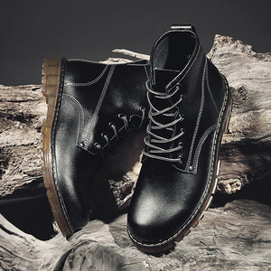 Men Casual Leather Bright Lace Up Shoes Martin Boots