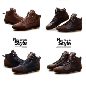 Plus Size Men's Shoes Leather Boots British Style
