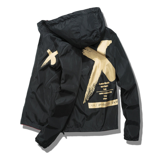 Spring Hooded Casual Black Jacket Men