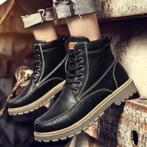 Men Flat Ankle Snow Motorcycle Boots Male Geniune Leather Lace-up Martin Boot