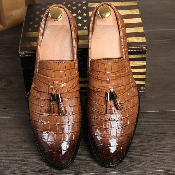 Men's Tassel Crocodile Grain Leather Shoes