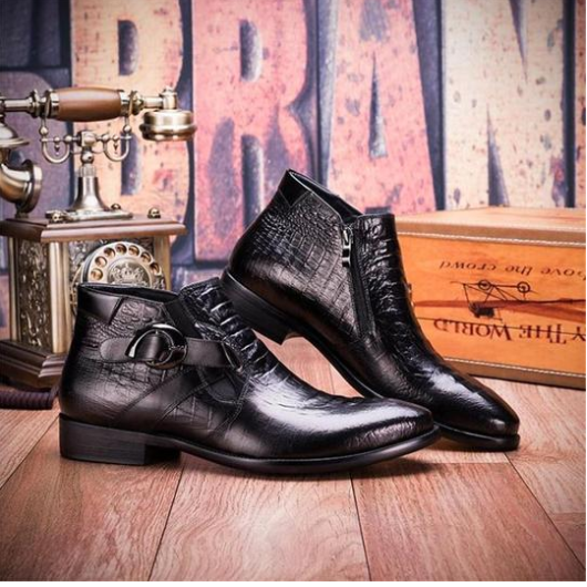 Comfortable Brief Crocodile Pattern Men's Leather Boots