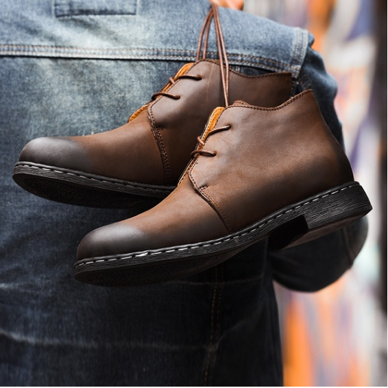 Mens Ankle Handmade Genuine Leather Boots