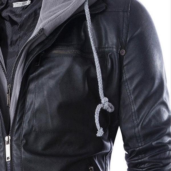 Men Black Hooded Slim Motorcycle Biker Faux Leather Bomber Top Jacket