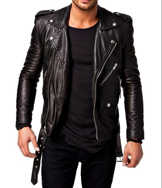 Leisure Men Coat Motorcycle Leather Leather Bomber Jackets