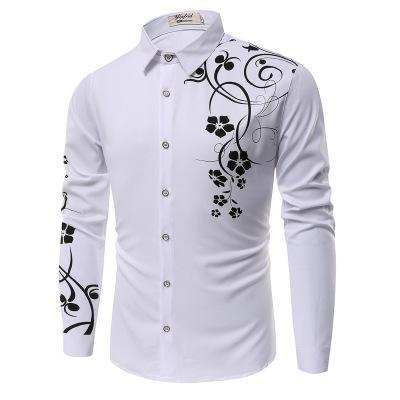 New Fashion Men's Printed Long Sleeves Shirt