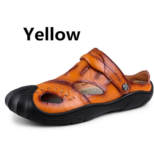 High quality men's summer leather outdoor sports beach sandals