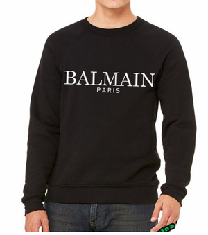 BALMAIN-PARIS men Casual Letter Printed hoodies long Sleeve Shirts Fashion Round sweatshirt Tops
