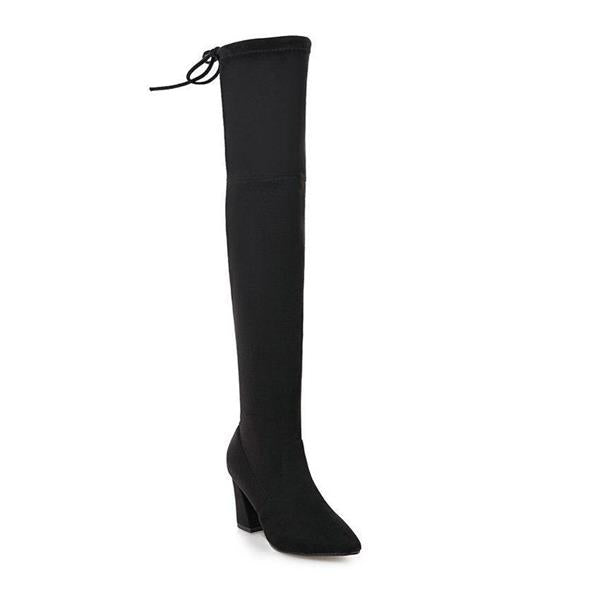 2018 New Flock Leather Women Over The Knee Boots