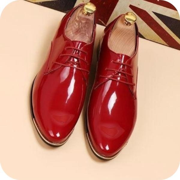 Men's  Plus Size Patent Leather Oxford Wedding Shoes