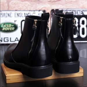 Men'S Chelsea Black Leather Short Boots Chaussure Homme Hiver Zipper High Quality Ankle Boots
