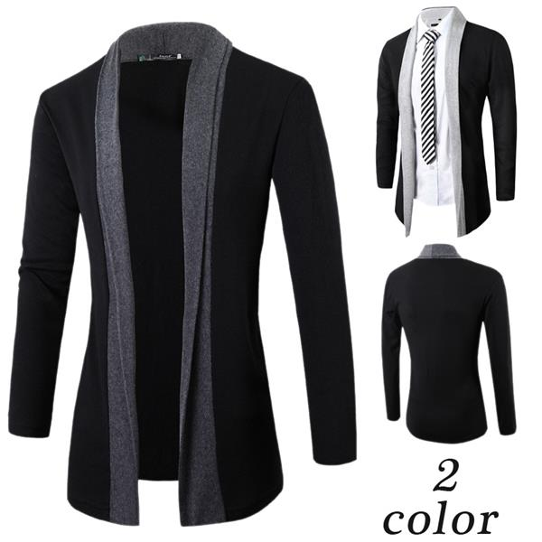 Cardigan men shawl collar patchwork open front casual slim fit