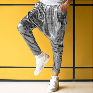 Male Female Personality Silver Big Crotchpants Hip Hop Skinny Pants