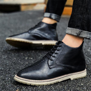 British Style PU leather Ankle Boots