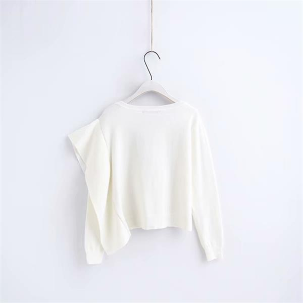 European and American style  sideways ruffled sweater