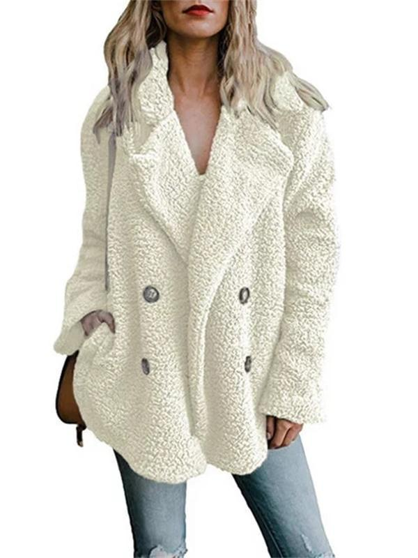 Geddss Shawl Collar Long Sleeve Buttoned Solid Winter Teddy Bear Coat
