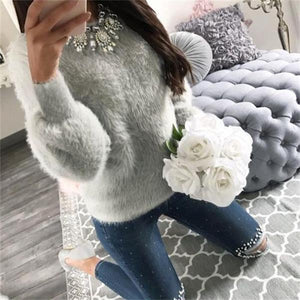 Fashion Autumn Winter Women Long Sleeve Fleece Sweater