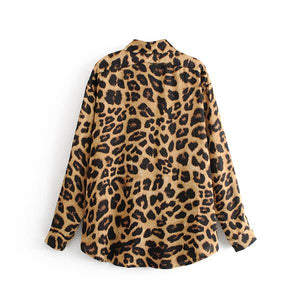 European and American style leopard print long-sleeved shirt